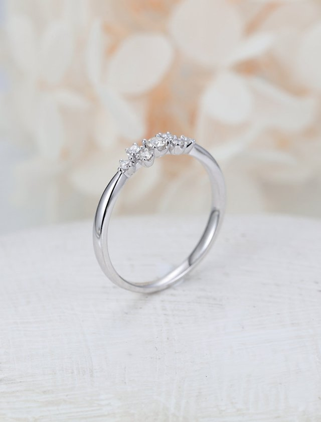 Unique Engagement Ring White Gold Diamond Cluster Engagement Ring Delicate Wedding Women Bridal Dianty Multi Stone Promise Anniversary Gift Fine Jewelry Ideas