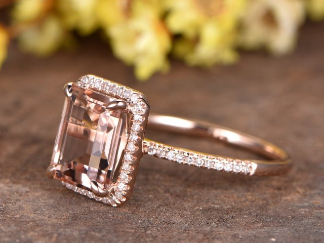 54417245ab9b1 Pink Morganite engagement ring rose gold HALO diamond wedding band bridal  promise ring 8x10mm emerald cut Morganite ring half eternity band - Fine ...