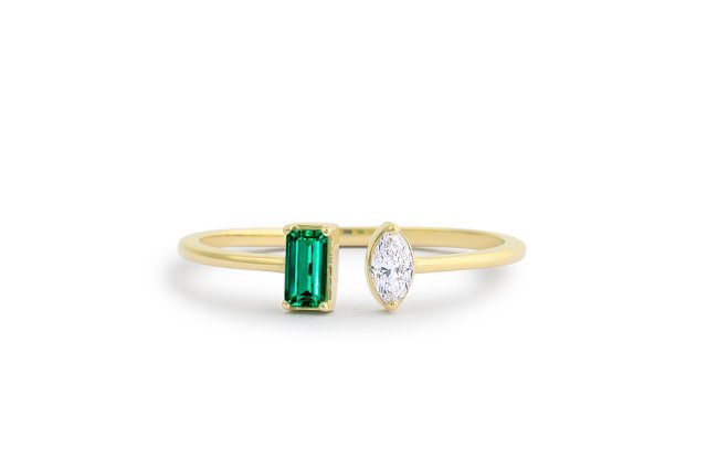 Natural Emerald 14k Gold Open Cuff Emerald Ring Stackable Ring Dainty Ring