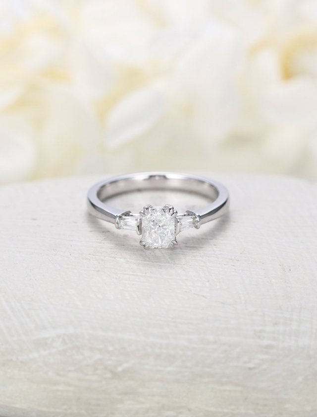Gifts for Women Anniversary Gift Simple Engagement Ring Gold Engagement Ring Solitaire Baguette Engagement Ring Gifts For Her