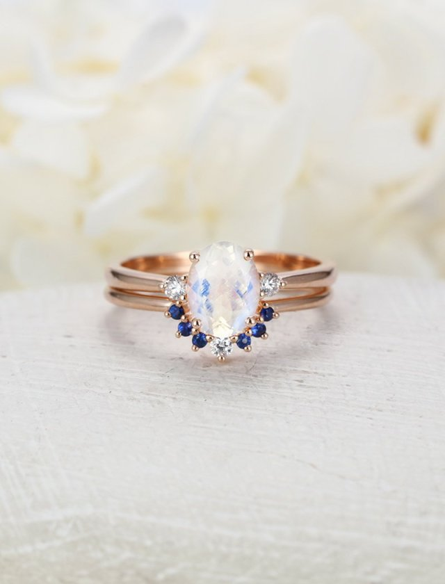 Moonstone Engagement Ring Set Rose Gold Oval Cut Engagement Ring Curved Wedding Women Diamond Bridal Sapphire Ring Anniversary Gift For Her Fine Jewelry Ideas