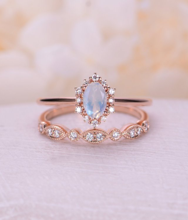 b531e405040a7c Vintage engagement ring set Oval cut moonstone engagement ring rose gold  diamond halo wedding Bridal Anniversary Gift for women