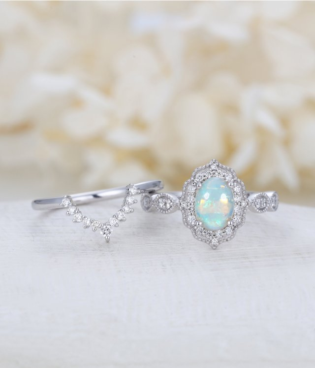 Opal Engagement Ring Women White Gold Halo Diamond Vintage Oval