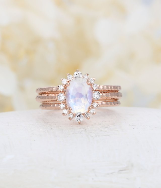 43d1c7a3928d11 White gold engagement ring moonstone engagement ring set vintage Oval  curved wedding band women bridal Jewelry Anniversary Valentine's Gift