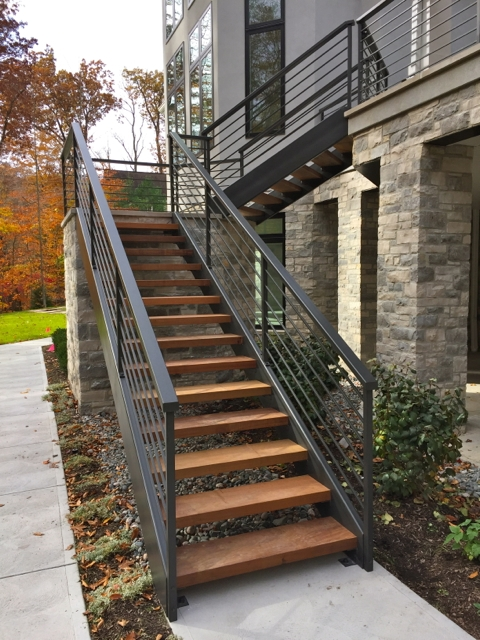 Exterior Contemporary Railings Finelli Ironworks   Exterior Wood Stair Railing   Staircase   Aluminum   Indoor   Landing   Commercial Building
