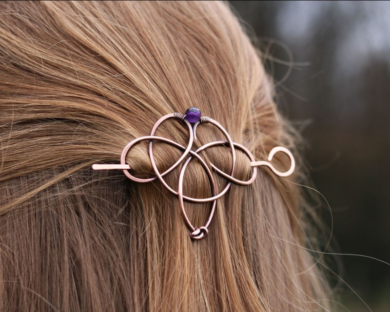 Celtic style hair barrette for thin to normal hair