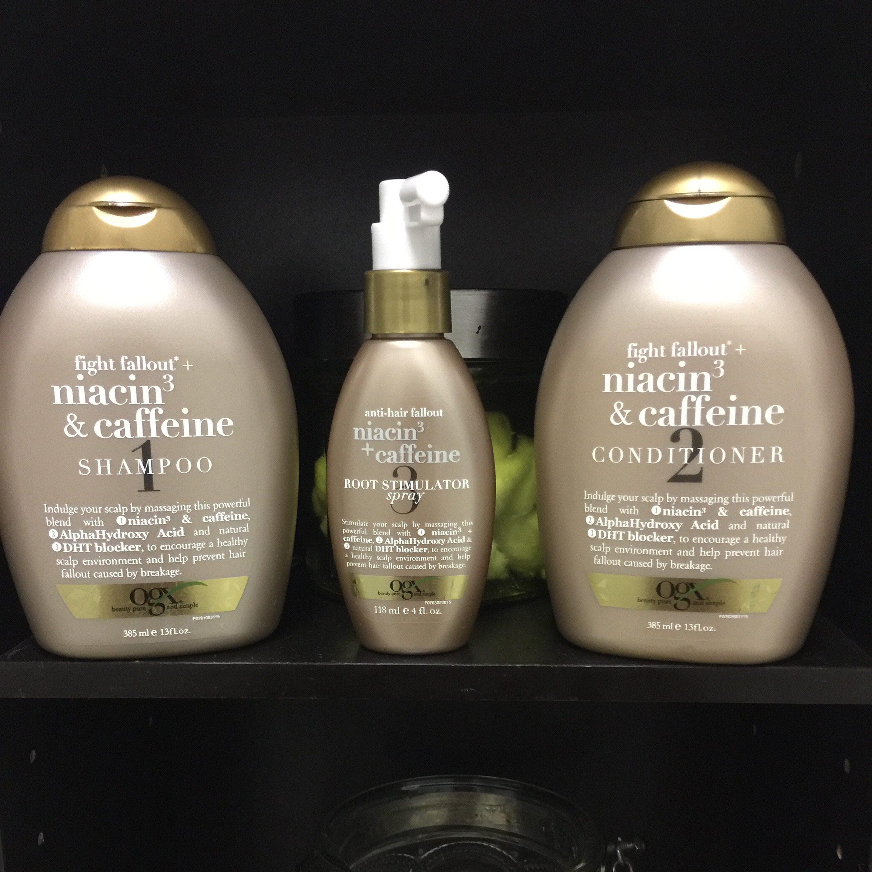 In Review: OGX Anti-Hair Fallout Niacin3 & Caffeine Hair ...