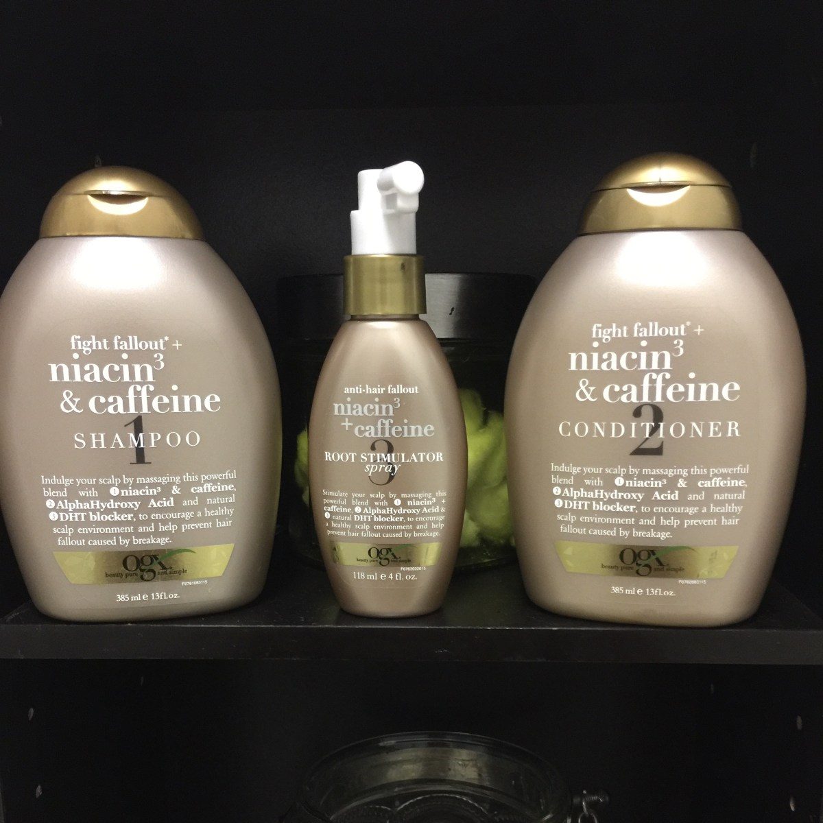 In Review: OGX Anti-Hair Fallout Niacin3 & Caffeine Hair Products