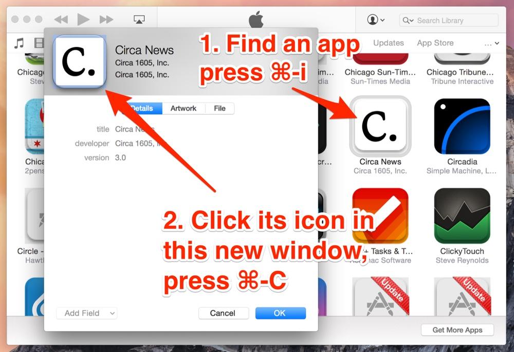 iTunes 12 copy app icons