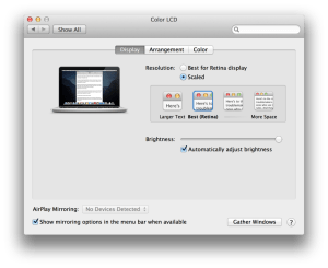 rMBP Displays pane