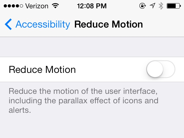 iOS7 Reduce Motion