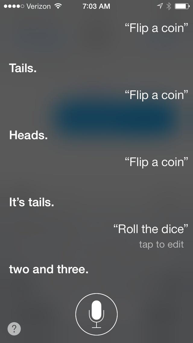 Siri flip coin roll dice