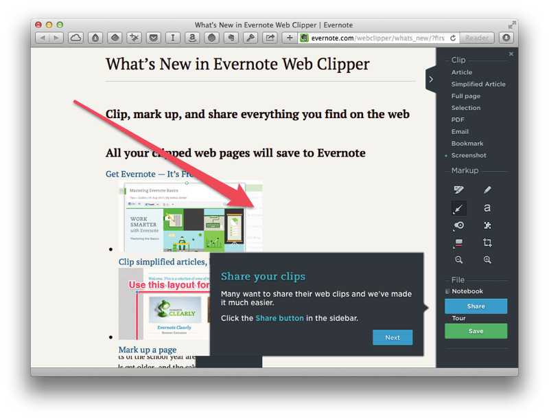 Evernote Web Clipper lets you snap a page or article