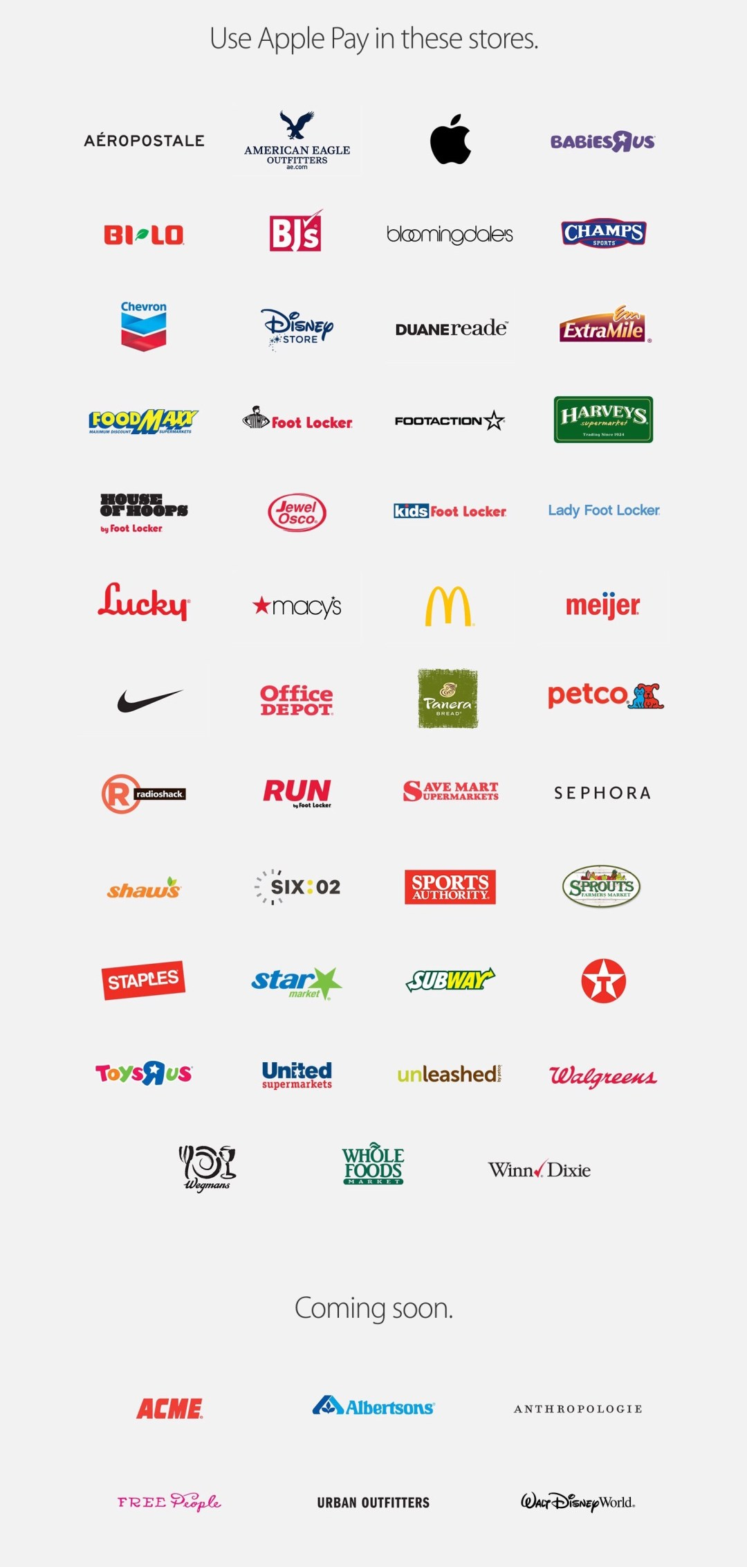 Apple Pay retailers, Feb 2015