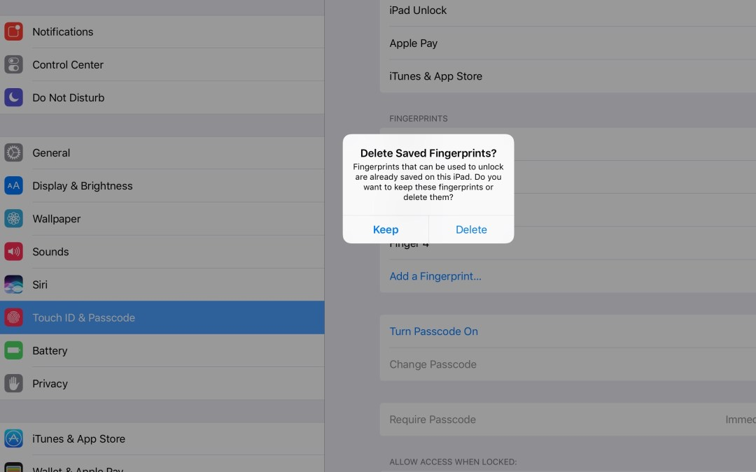 iOS offers to reinstate your fingerprints if you disable, reenable Touch ID