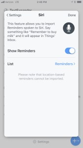 Things 3 iPhone Siri Reminders