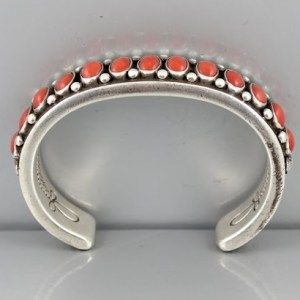 Calvin Martinez Sterling and Red Coral Bracelet