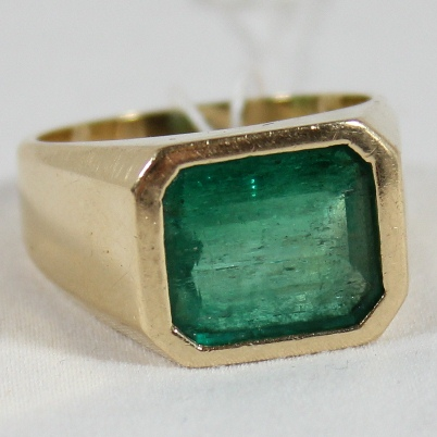 Sold: $1,800 Emerald and Gold Ring