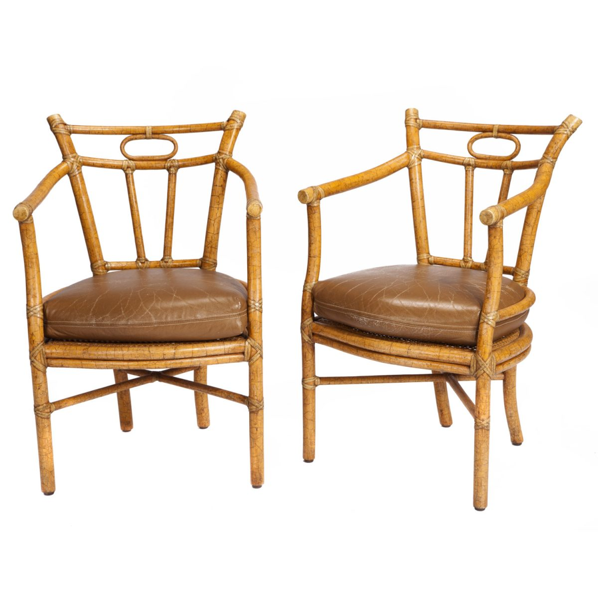 "<p><a href=""https://finesf.com/lot/pair-of-mcguire-chairs-4019121"">Pair of McGuire Chairs Designed by Andrew Delfino (M-89)</a></p>"