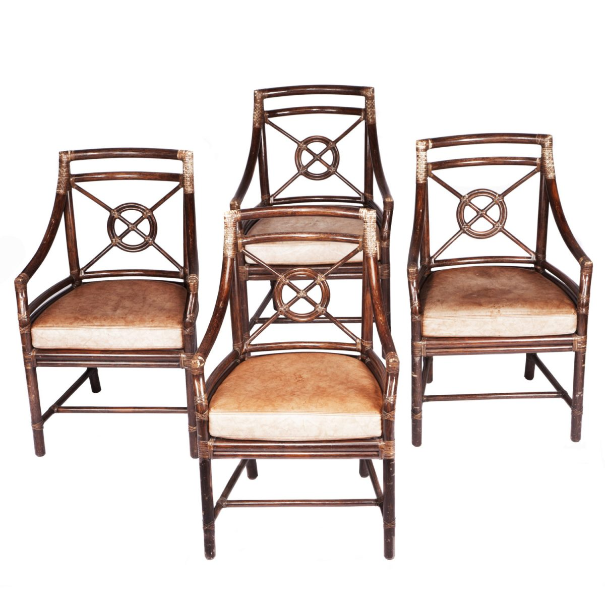 "<p><a href=""https://finesf.com/lot/set-of-four-mcguire-armchairs-4019115"">Set of Four McGuire Target Chairs Designed by Elinor McGuire (M-59B/SL)</a></p>"