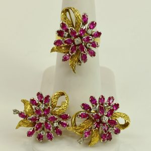 14K Synthetic Stones Ring and Earrings Set