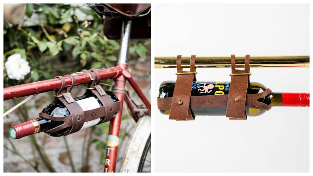 Bicycle Leather Wine Bottle Holder - Tips til eksamensgave