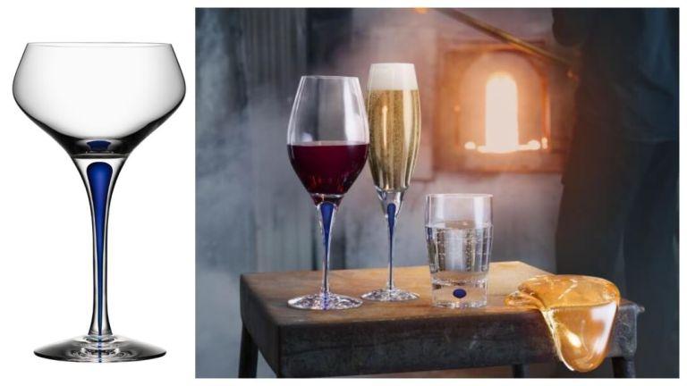 Gavetips til pappa: Intermezzo blå champagneglass fra Orrefors