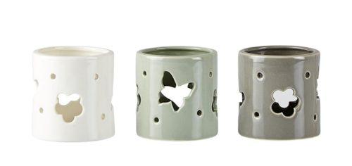 Tre små lysestaker i keramikk