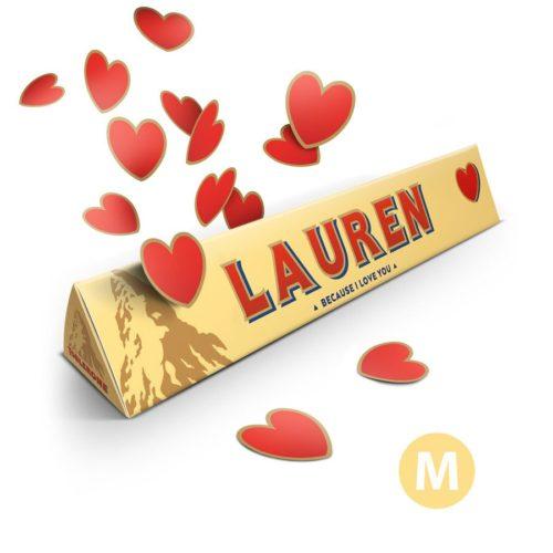 Kjærlighetstema Toblerone-sjokolade med navn og bilde