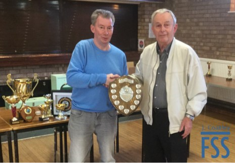 David Newton receives his trophy from Stan Bolton
