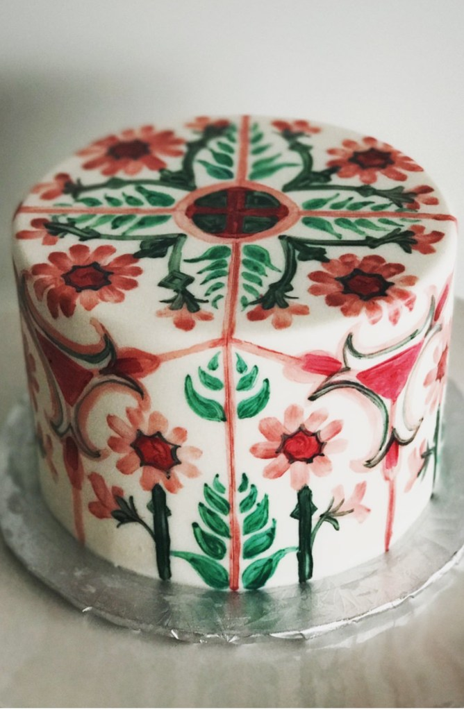 One tier hand painted spanish tile cake in Toronto Canada