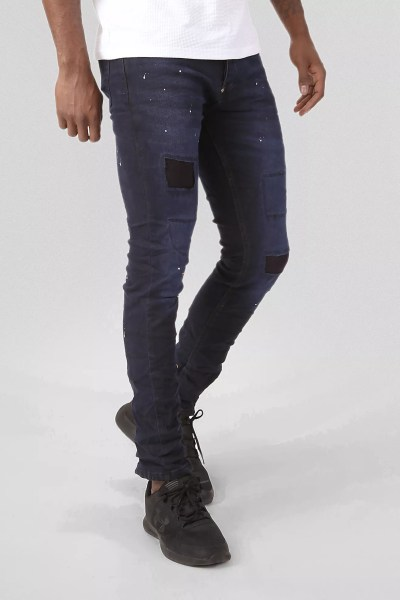 Donkerblauwe Heren Jeans Met Patches