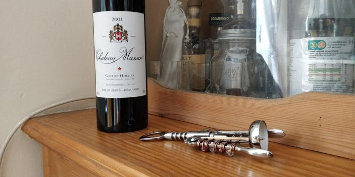 Back Château Musar Gaston Hochar and Bottle Opener