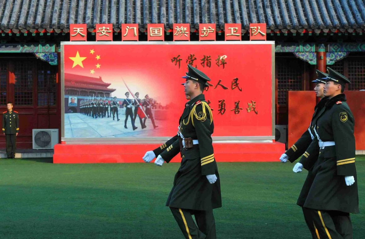 BEIJING - NOV 6: Soldiers patrol in Tiananmen area ahead of China's 18th National Congress on November 6, 2012 in Beijing, China.