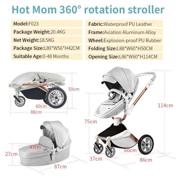 Hot Mom Baby Barnvagn 2 i 1 resesystem, modell F023
