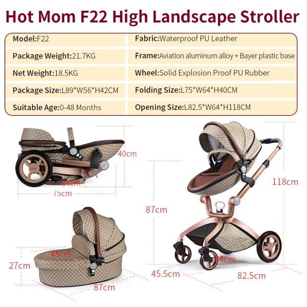 Hot Mom Barnvagn 3 i 1 Multifunktionellt Högt landskap Resesystem, 2020 modell F22