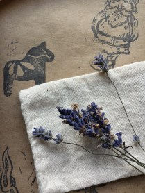 making little lavender sachet for the journey, with handpicked lavender from our garden (showcased on my hand-stamped paper)