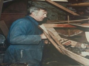 Patsy building St Patrick skiff in Collinstown workshop