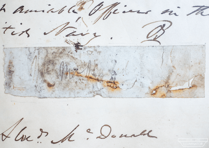 A fragment of paper picked up at Beechey Island in 1850.