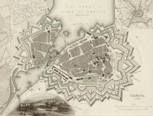 A map of Geneva in 1841.