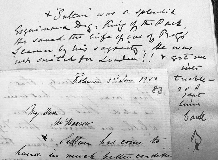 A B&W detail of a letter from William Penny to John Barrow Junior, dated 3 January 1852.