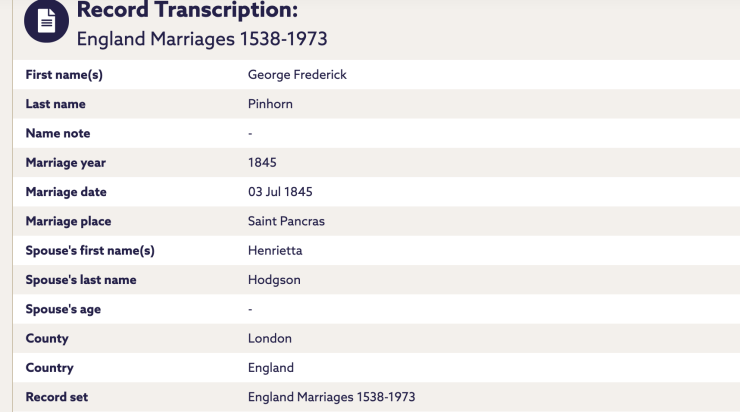 A marriage record for GF Pinhorn and Henrietta Hodgson.