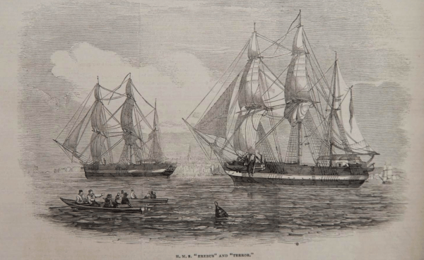 An etching from the Illustrated London News, showing Erebus and Terror as they left England.
