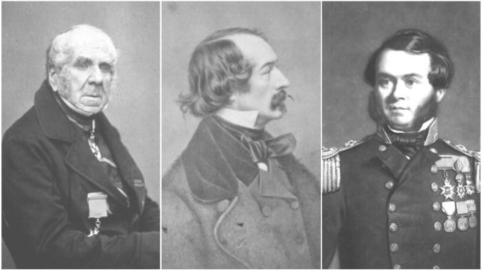 A composite image of Old John Ross, Elisha Kent Kane, and Sherard Osborn