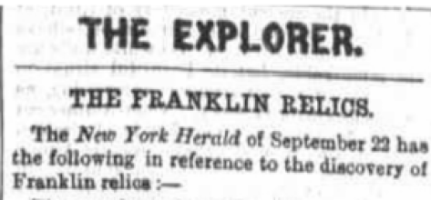 A cutting from the Australasian newspaper, about the return of the Schwatka expedition.