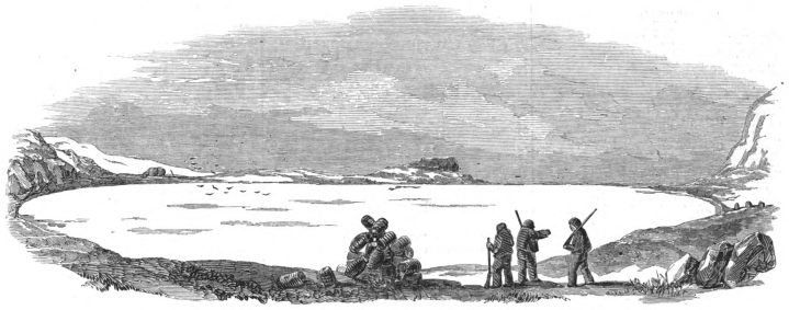 An image from the Illustrated London News, showing three figures at a pyramid of object, with one pointing to shapes in the distance.