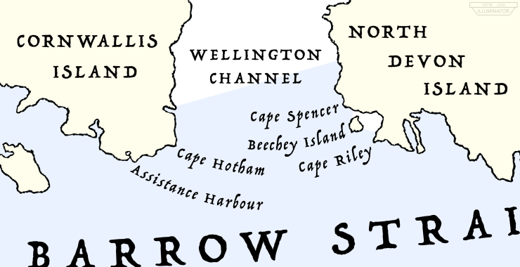 A map showing the locations of Assistance Harbour, Cape Hotham, Cape Spencer, Beechey Island and Cape Riley