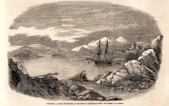 A newspaper etching of the yacht Isabel at anchor off Greenland.