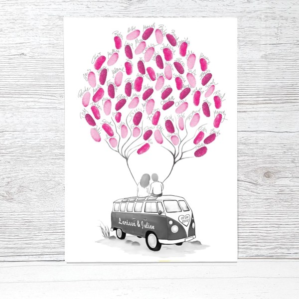 Wedding Tree Bus, Fingerabdruckbaum Auto, Wedding Tree Bulli, Wedding tree Bus, Fingerabdruck Bus, Fingerabdruck Baum, Leinwand, Hochzeit Weddingtree Leinwand, Wedding Tree Gästebuch, Weddingtree VW Bus, Wedding Tree Bulli Hochzeit