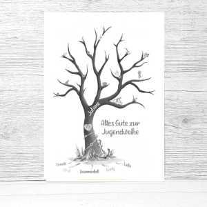 Jugendweihe Fingerabdruckbaum, Jugendweihe Gästebuch, personalisiertes Geschenk